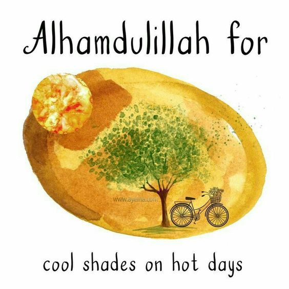 Positive Islamic Quotes - Alhamdulillah for cool shades on hot days.