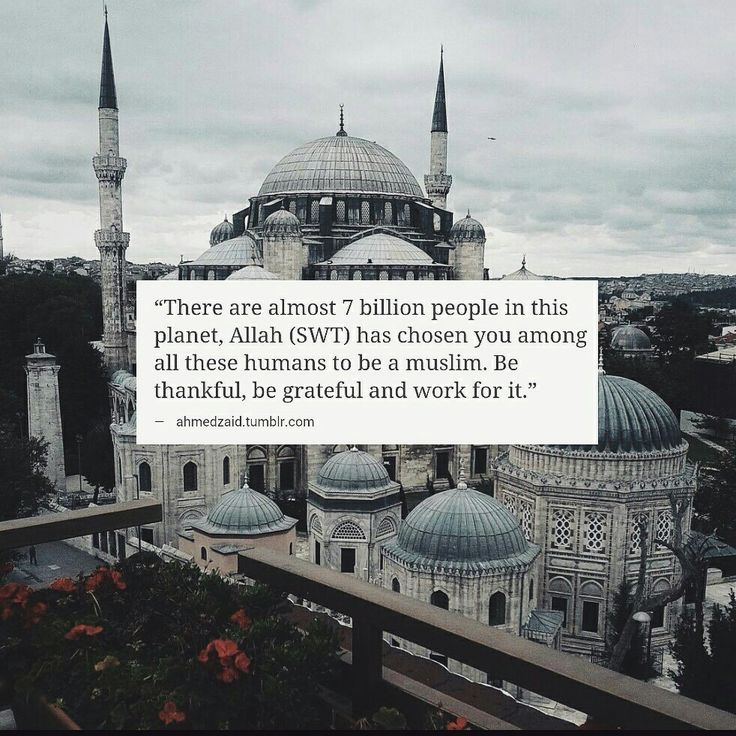 Inspirational Islamic Quotes - There are almost 7 billion people in this planet, Allah (SWT) has chosen you among all these humans to be a Muslim. Be thankful, be grateful and work for it.
