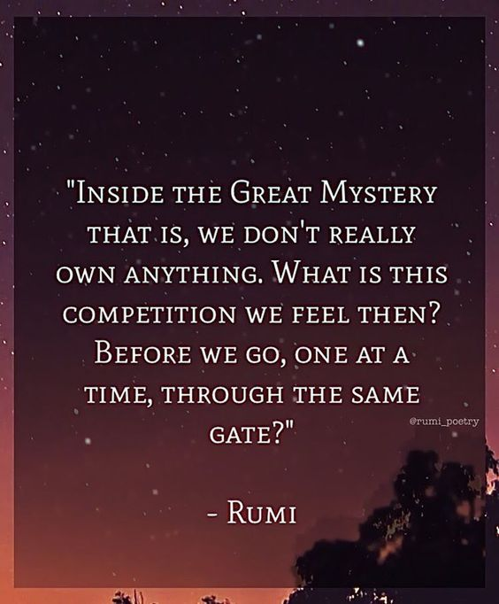 rumi quotes - Inside the great mystery that is, we don't really own anything. What is this competition we feel then? Before we go, one at a time, through the same gate?