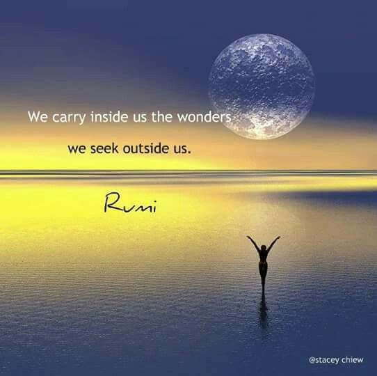 rumi quotes - We carry inside us the wonders. We seek outside us.