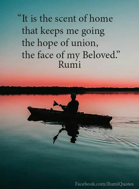 rumi quotes - It is the scent of home that keeps me going the hope of union, the face of my Beloved.