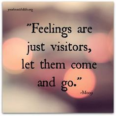 rumi quotes - Feelings are just visitors, let them come and go.