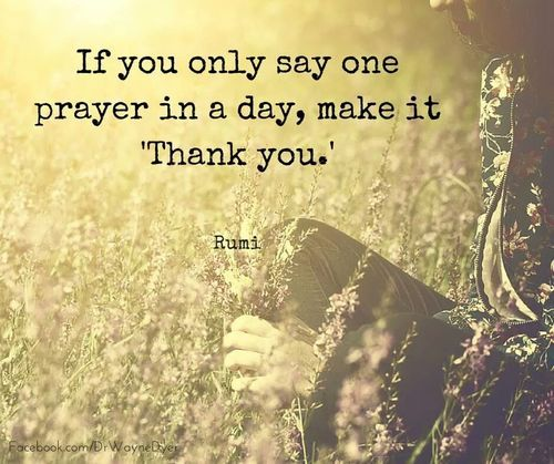 rumi quotes - If you only say one prayer in a day, make it 'Thank you.'