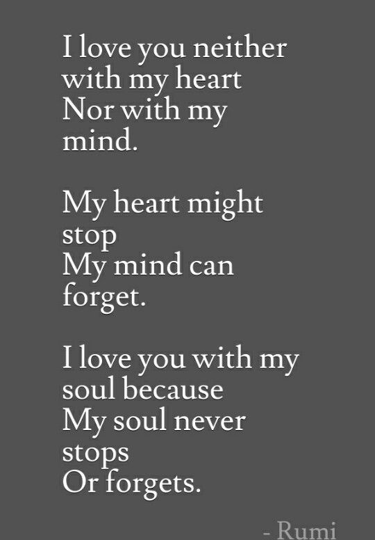 rumi quotes - I love you neither with my heart nor with my mind. My heart might stop. My mind can forget. I love you with my soul because my soul never stops or forgets.