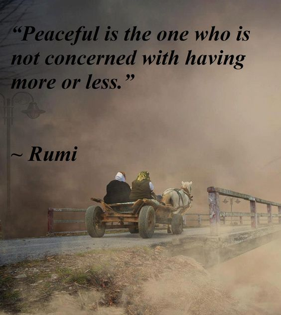 rumi quotes - Peaceful is the one who is not concerned with having more or less.