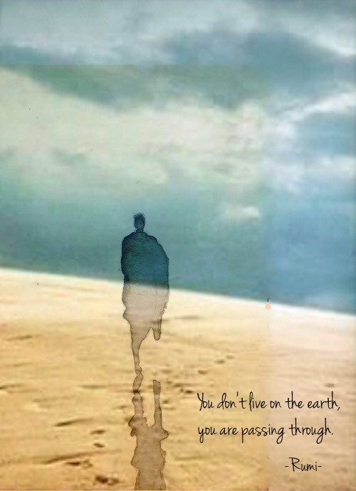 rumi quotes - You don't live on earth, you are passing through.