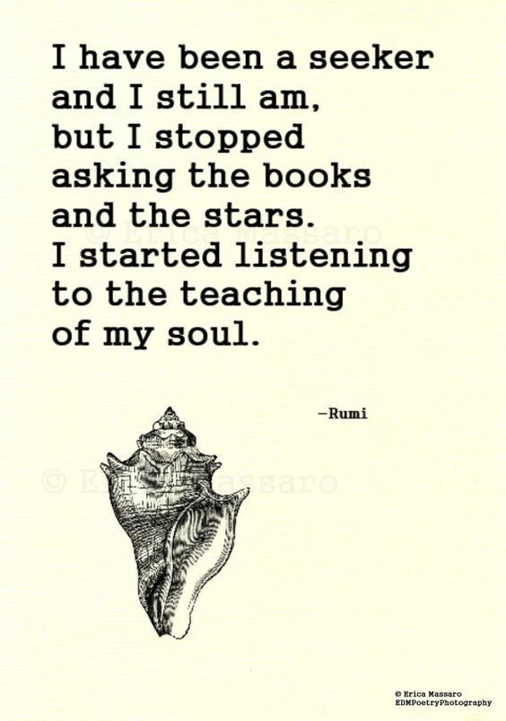 rumi quotes - I have been a seeker and I still am, but I stopped asking the books and the stars. I started listening to the teaching of my soul.