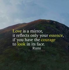 rumi quotes - Love is a mirror, it reflects only your essence if you have the courage to look in its face.