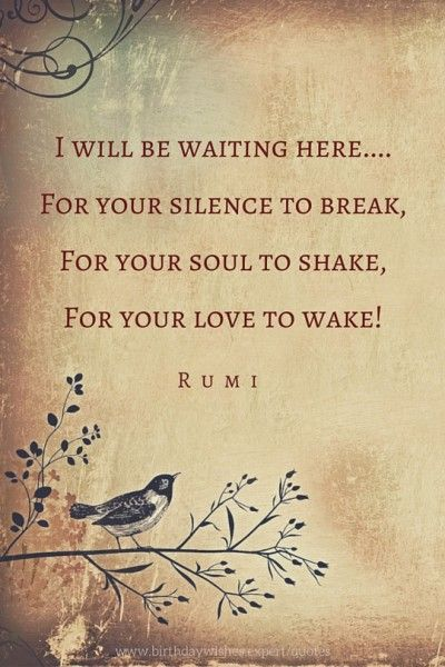 rumi quotes - I will be waiting here... for your silence to break, for your soul to shake, for your love to wake!