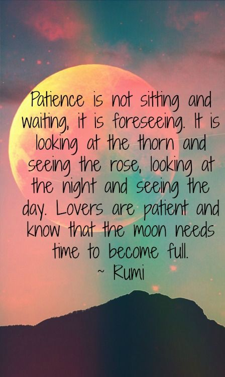rumi quotes - Patience is not sitting and waiting, it is foreseeing. It is looking at the thorn and seeing the rose, looking at the night and seeing the day. Lovers are patient and know that the moon needs time to become full.