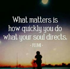 rumi quotes - What matters is how quickly you do what your soul directs.