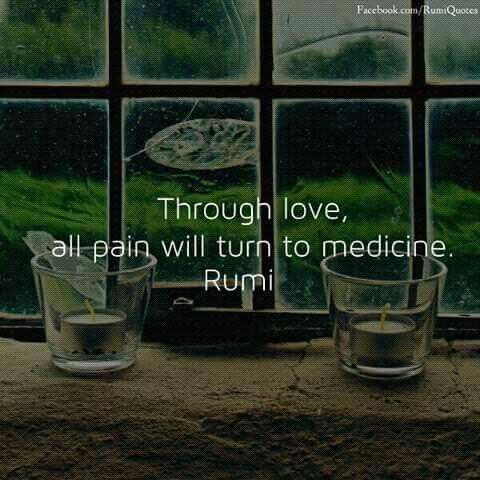 rumi quotes - Through love, all pain will turn to medicine.