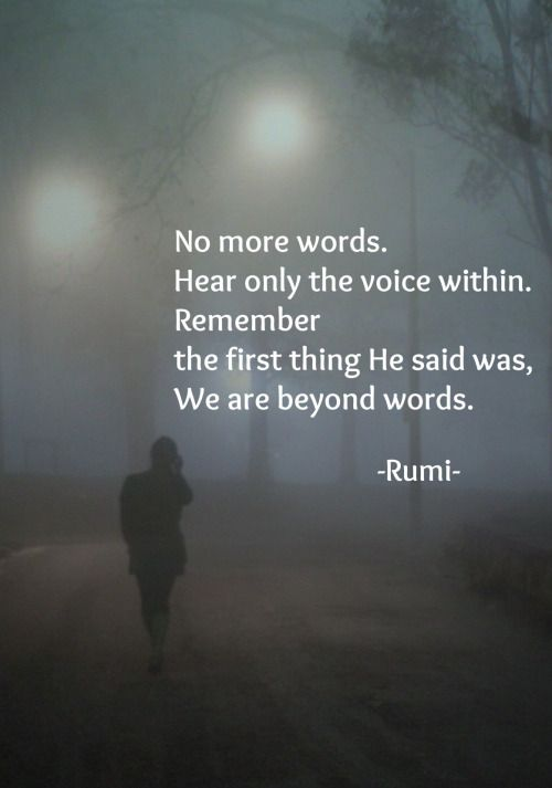 rumi quotes - No more words. Hear only the voice within. Remember the first thing He said was, We are beyond words.