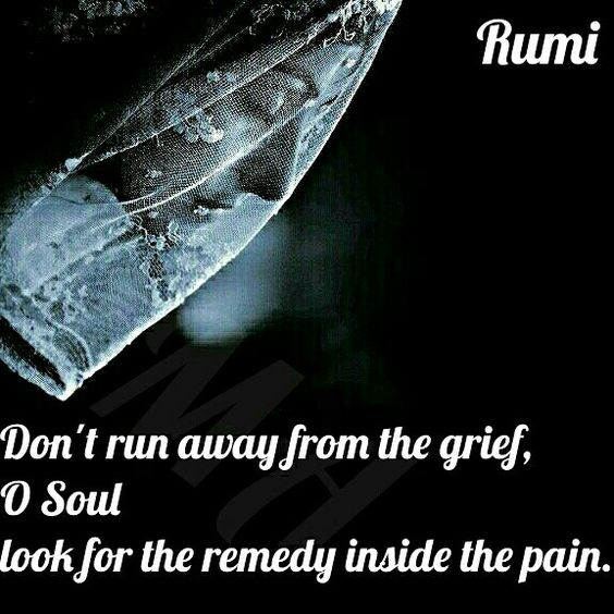 rumi quotes - Don't run away from the grief, O Soul, look for the remedy inside the pain.