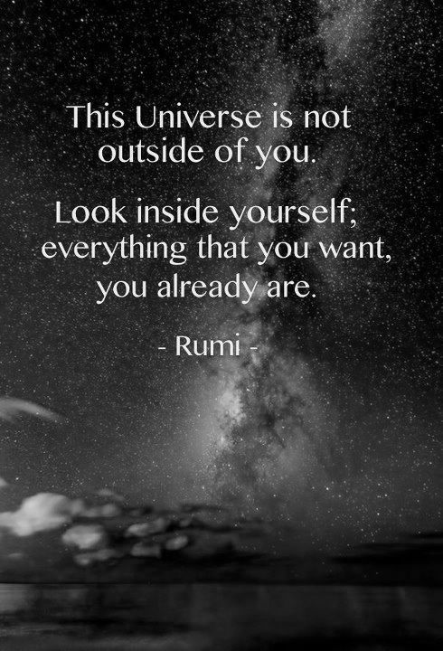 rumi quotes - This Universe is not outside of you. Look inside yourself; everything that you want, you already are.