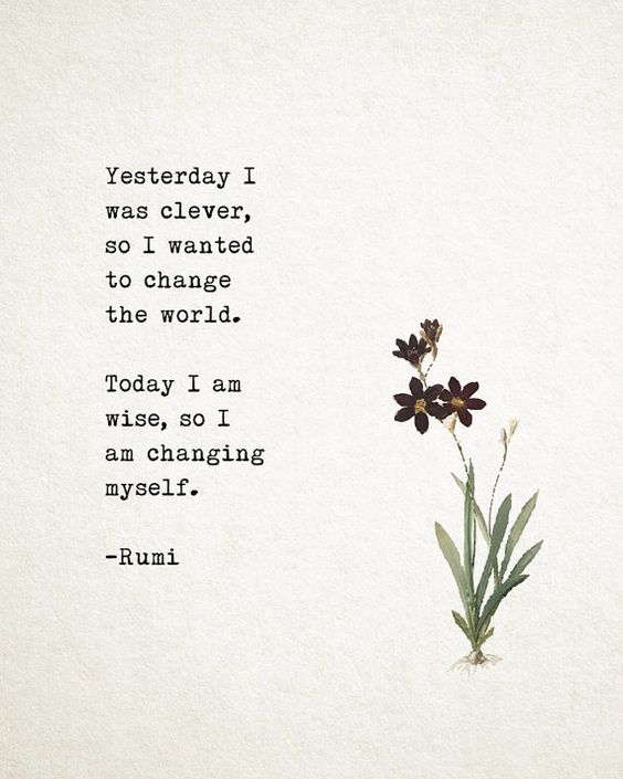 rumi quotes - Yesterday I was clever, so I wanted to change the world. Today I am wise, so I am changing myself.