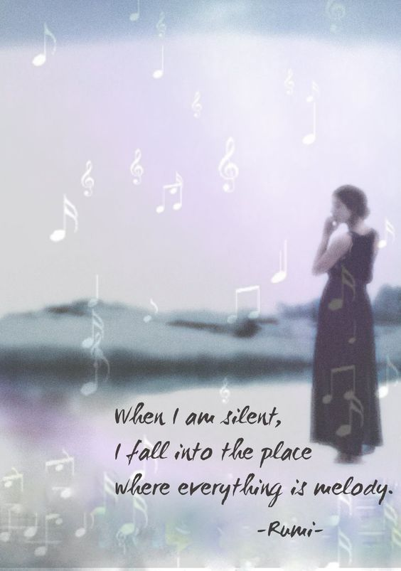 rumi quotes - When I am silent, I fall into the place where everything is melody.