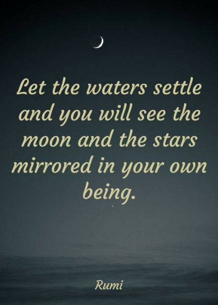 rumi quotes - Let the waters settle and you will see the moon and the stars mirrored in your own being.